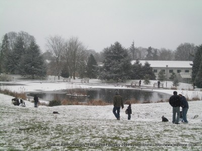 Lake at University of Bath in Snow