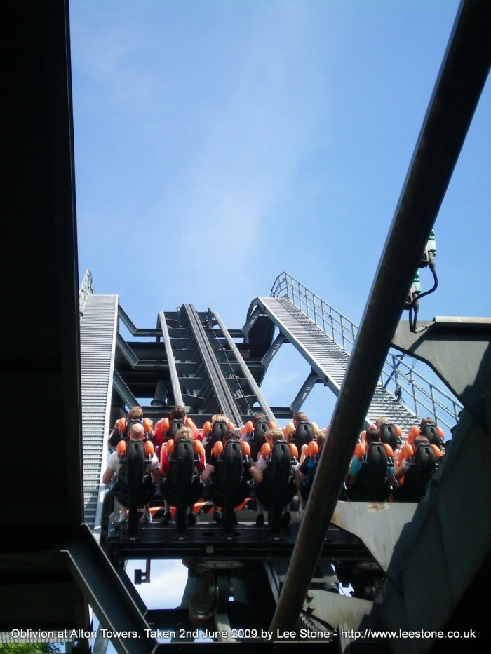 Oblivion at Alton Towers - About to go up the lift hill