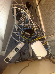 The mess of cables behind my TV
